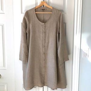 FLAX Linen Long-Sleeve Midi Dress